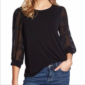 CeCe Black Lace Long Sleeve Blouse Size L